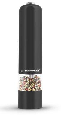 Esperanza Elektrische Salz und Pfeffermühle im Schwarz mit Licht und einstellbarer Feinheit, Keramikmahlwerk, 5cm x 23cm Salzmühle Gewürzmühle