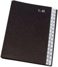 Preisvergleich Produktbild Pultordner Hartpappe - 1 - 31, 32 Fächer, Farbe schwarz Einband aus Hartpappe (RC) mit Dehnrücken. Zwischenblätter aus Spezialkarton mit Schaulöchern und überstehenden Kunststoff-Taben. Größe: 270 x 340 mm. Farbe: schwarz.