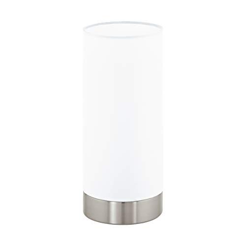 EGLO Tischlampe Damasco 1, 1 flammige Tischleuchte, Nachttischlampe aus Stahl, Farbe: Nickel matt, Glas: satiniert, weiß, Fassung: E27, inkl. Schalter -