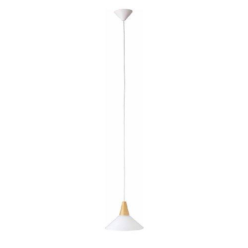 Brilliant 74270/05 Suspension fil-hetre/blanc-verre/hetre-E27, Verre/hêtre, E27, 75 W