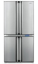 SHARP SJF800SPSL Kühl-Gefrier-Kombination/A+ / 183 cm / 460 kWh/Jahr / 421 L Kühlteil / 232 L Gefrierteil/Double French Door (Viertürer) / silber
