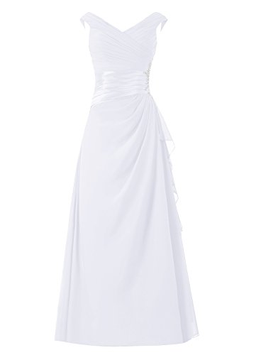 Dresstells, robe longue de mère de mariée, robe de soirée sans manches col en V, robe de demoiselle d'honneur Blanc