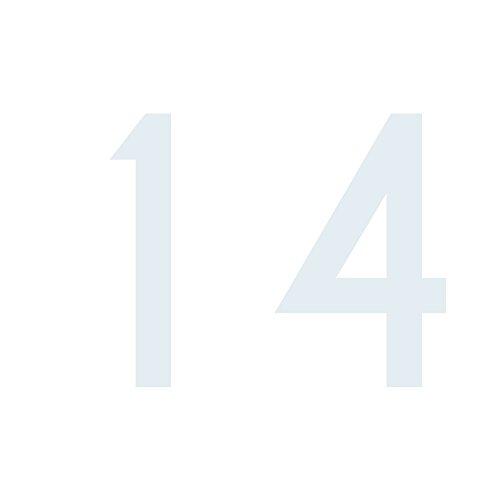 Zahlenaufkleber Nummer 14, weiß, 10cm (100mm) hoch, Aufkleber mit Zahlen in vielen Farben + Höhen, wetterfest