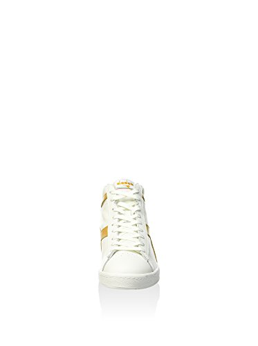 Diadora Game L High Waxed, Pompes à plateforme plate mixte adulte Blanc / Ambre Or