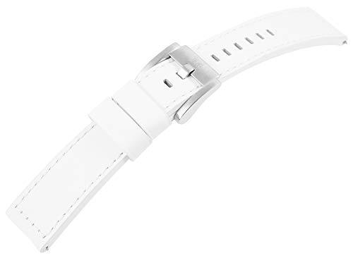 TW Steel Echt Leder Armband, 22 mm, weiß mit Naht, Silber, Schließe