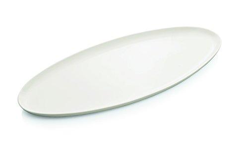 Plateau en porcelaine en blanc – en forme ovale (Dimensions : 65 x 29 cm)