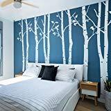 N.SunForest - Set von 4großen Birken in weiß 8,5ft Kinderzimmer Wandaufkleber Baum Vinyl Wall Art Decor Aufkleber Wand Vinyl Aufkleber Pop Baby Geschenk - 8' Vinyl