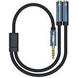 MillSO Headset Splitter 3.5mm Jack Adapter - 4-Pole Male to Dual Female Headphone Microphone Splitter (Mic + Audio) for iPod