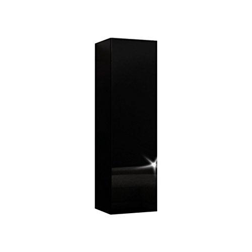 RODRIGO Hängeschrank Badezimmerschrank Badschrank Regal Board mit Hochglanz 105 cm Höhe (korpus matt schwarz + Front schwarz Hochglanz)