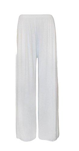 WaerAll - Pantaloni a palazzo, da donna, taglie forti, tinta unita, gamba svasata, tagliadalla XL in su Cream