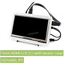 XYGStudy HDMI-LCD-Display, 17,8 cm (7 Zoll), mit zweifarbiger Abdeckung, 1024 x 600 kapazitiver Touchscreen-Display für Raspberry Pi 3 2 Modell B+ B Zero Banana Pi Pro BB Schwarz