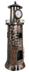 osters muschel-sammler-shop Flaschenhalter Leuchtturm mit Uhr - Metall - Weihnachten - Geschenkidee