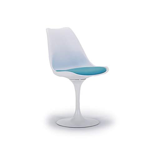 LILI-JJZX Tulip Plastic Dining Chair Bar Chair Bürostuhl ohne Sessel Sitzcomputer Stuhl Faule Stuhl Wohnzimmer Küche Studie Büro Computer Outdoor Freizeit Stuhl Lehnstuhl Sofa Stuhl (Color : Blue) -