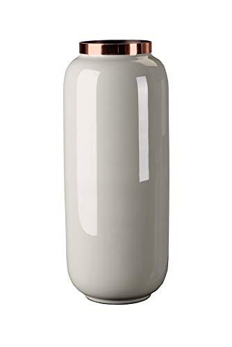 SoulSisters Living Blumenvase 30cm, metallic Grau modern Vase Kupfer: M (14 x 30 x 14 cm)