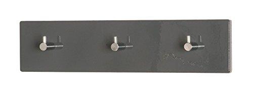 Sechs Garderobenleisten in grau-chrom; Maße: 34x5x8
