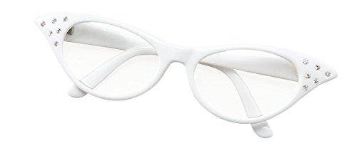 Fancy 1950er Kostüm Jahren Dress - Bristol Novelty BA142W Brille im Stil der 50er, Weiß, Damen, Einheitsgröße
