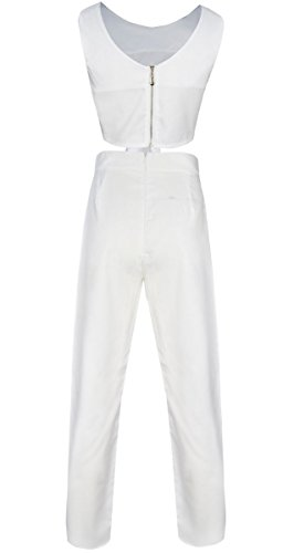 Fancyinn Frauen 2 Stücke Set ärmellose Top und lange Hosen Cocktail Party Style White