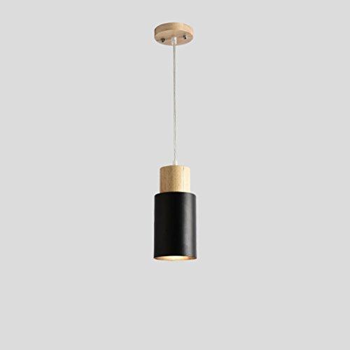 Lustre Bar Chevet Chambre Café Magasin de Vêtements Restaurant Creative Personnalité Simple Simple Tête Bois Lumière ZHJING (Couleur : Noir, Taille : 22cm)