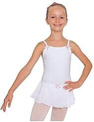 danceconnexxion Maillot con faldita y lazos para niños, blanco