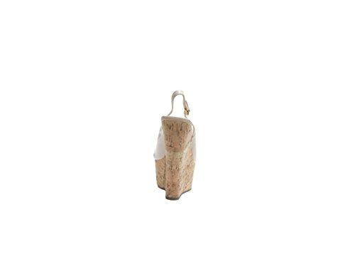 JustGlam- Scarpe donna decolletè sandali in vernice punta aperta con zeppa in sughero comodissimi e leggeri new collection must have made in italy Cipria