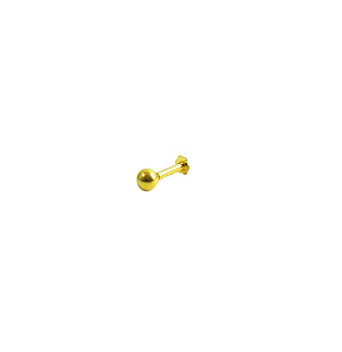 Vinayak Gold Nose Stud beautiful plain ball design(2 mm)