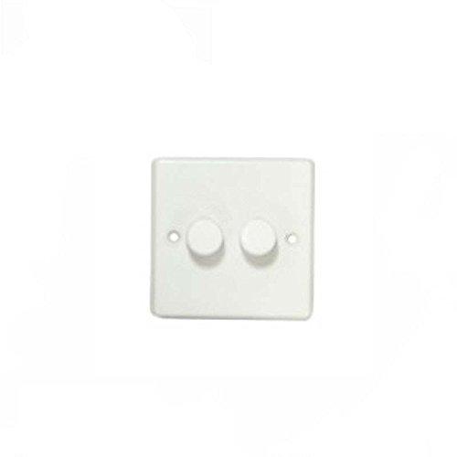 Varilight 2-Gang 2-Way Rotary LED Dimmer 2 x 15-180W KQP182W Light Switch -