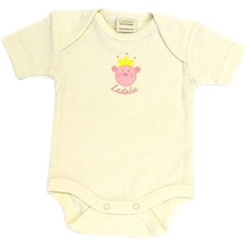 Ladalu 1st K.NR, 5056 Body, 100% cotone organico, a maniche corte, colore naturale con bio-stampa per bambine