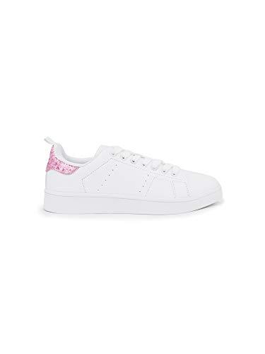 pretty nice d29ab 49a32 Zapatillas Mujer Purpurina Blancas con Rosa