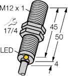 Turck Sensor,ind,M12x1, m.Kabel Bi 2-M12-AP6X DC,pnp,no,sn=2mm,b Induktiver Näherungsschalter 4047101140453