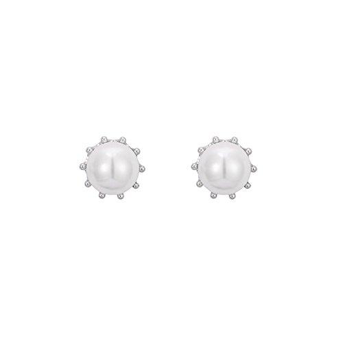 GZZ S925 Sterling Silber Quaste Ohrringe/Runde Perlmutt Ohrringe/Einfache Retro Ohrringe Schmuck/Geburtstagsgeschenke / Kleine Geschenke,Weiß,Ohrstecker