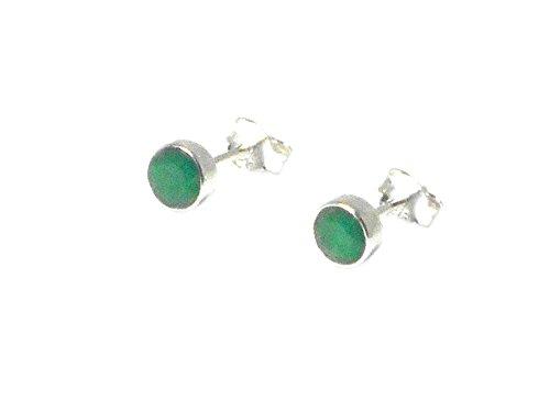 Smaragd Sterling Silber 925Edelstein Ohrstecker/Ohrringe–5mm (emst0610171)