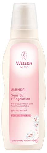 WELEDA Mandel Sensitiv Pflegelotion, Naturkosmetik Bodylotion zur Pflege und Beruhigung sensibler Haut, Körperlotion für sehr trockene Haut und gegen Rötungen (1 x 200 ml)