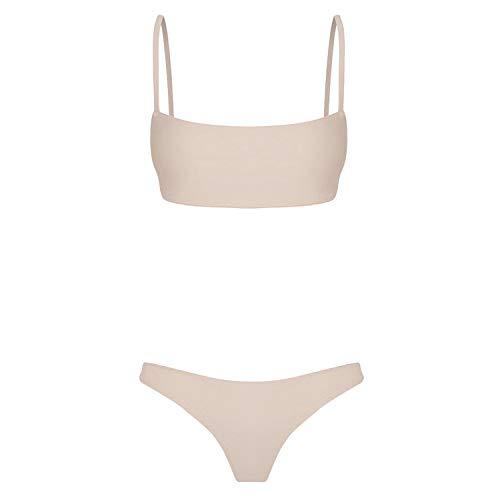 ASILAX& Brazilian Bikini Women Bandeau Bandage Bikini Set Push-Up Brazilian Swimwear Beachwear Swimsuit Fato De Banho Mulher #YL10 Beige XL (Plus Size Snake Print Leggings)