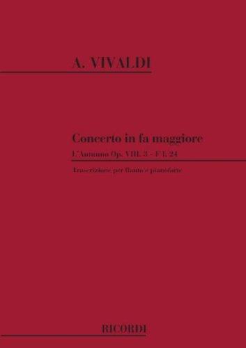 PARTITIONS CLASSIQUE RICORDI VIVALDI A    CONCERTI IN FA LAUTUNNO OP  VIII N  3 RV 293   FLUTE ET PIANO FLûTE TRAVERSIèRE