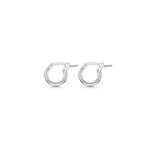Amberta® 925 Sterling Silber Edle Ringe mit Scharnierbügel – Kleine runde Creolen Ohrringe - Durchmesse: 7 10 15 20 25 35 45 55 mm (7mm)