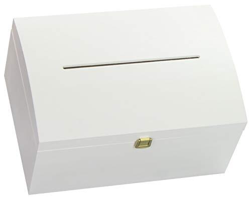 LAUBLUST - Holztruhe in Größe L - Kiefer Weiß ca. 35 x 25 x 19 cm - Truhe mit Schlitz und Schloss - Eckige Kanten und Deckel - 100 % Vollholz - Geschenk-karte Box $25 In