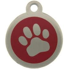DOG/PET TAG DESIGN 32mm Stainless Steel Paw RED Engraved from Melian - MESSAGE US WITH WORDING REQUIRED
