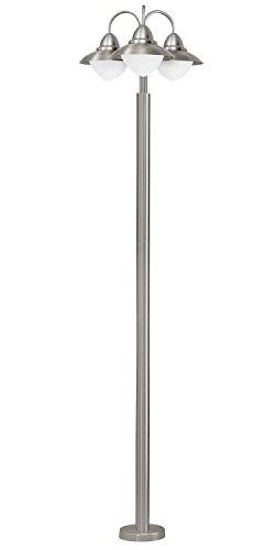 Exklusive Stehlampe Edelstahl Weiß Höhe 220cm 3-flammig Schale Außenleuchte Terrassenleuchte Hofleuchte Gartenlampe Stehleuchte Standleuchte