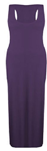 Women Ladies Vest Racer Muscle Back Jersey Long Summer Maxi Dress Plus Size 8-18 (10, Purple)