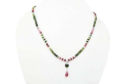 Natürliche Tourmaline Perlen Halskette Strang mit Sterling Silber Erkenntnisse von Anushruti Handgemachte Schmuck 16