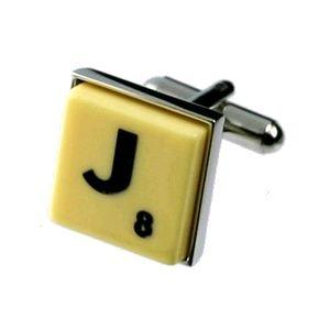 English Gems boutons de manchette Lettre J x2 avec étui Noir