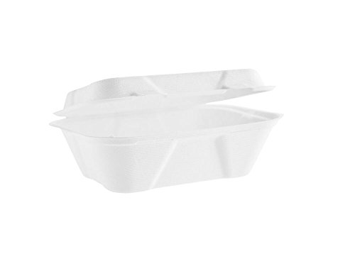 """Vegware B001 Bagasse clamshell, Regular, 7"""" x 5"""" (Pack of 50)"""