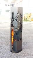 *Feuersäule mit Bambusmotiv, Höhe 80cm*