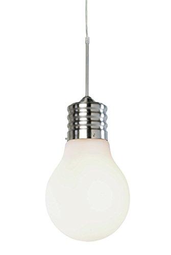 AVANTI TRENDSTORE Lampada a Sospensione Design Bulb 220 x 390 mm, Opale Bianco, alluminio