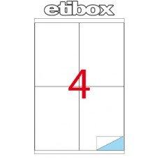 ETICHETTE ADESIVE ETIBOX SU FOGLIO A4 (Etichette: cm 105x148) (Etichette per foglio 4 ) Conf. 100 fogli A4