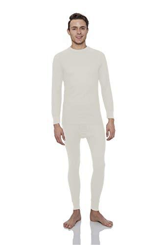 Knit Long Johns (Rocky® Men's Thermal Long John Underwear 2Pc Set Waffle Knit Top and Bottom (Large, Natural))