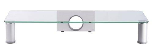 VCM Monitor TV Aufsatz Bildschirm Erhöhung Monitoraufsatz Glasaufsatz Alu/Glas (Schreibtisch Tv)
