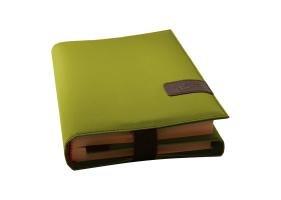 BookSkin lindgrün: schützende Buchhülle aus Mikrofaser mit integriertem Lesezeichen -