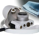 MegaGear Leder Kameratasche für Panasonic LUMIX DMC-GM1 mit 12-32mm Objektiv Digital Kamera (Weiß)
