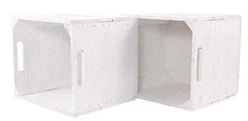 moooble Vinterior 2er Neue weiße Kiste für IKEA Kallax Regal Expedit 33cm x 37,5cm x 32,5cm Einsatz Aufbewahrungsbox Aufbewahrungskisten Obstkisten Weinkiste Regal Holz Kiste klassisch Einsatz